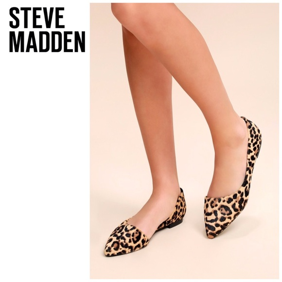 3f37f849d Steve Madden Shoes | Pointed Toe Real Fur Flats Leopard Print New ...